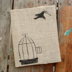 Free to Fly -  Burlap Feed Sack Journal Cover w. Notebook. $12.00, via Etsy.