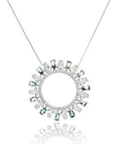 colar mandala cumprido com zirconias cristais e banho de rodio semi joias da moda