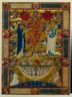 Christ in majesty with the Virgin and St. John the Evangelist: single leaf from a Book of Rules.  Venice, Iitaly, circa 1300-1330