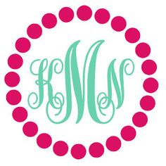 Dot Monogram Decal Sticker by houseofminedesigns on Etsy https://www.etsy.com/listing/224980260/dot-monogram-decal-sticker