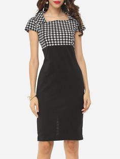 #Fashionmia - #Fashionmia Houndstooth Courtly Square Neck Bodycon-dress - AdoreWe.com