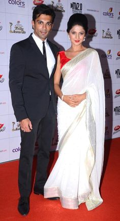 Karan Singh Grover and Jennifer Winget at the Indian Telly Awards 2013 #Bollywood #Fashion