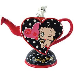 Everything we love about Betty is incorporated into this decorative tea pot, it even has Pudgy!