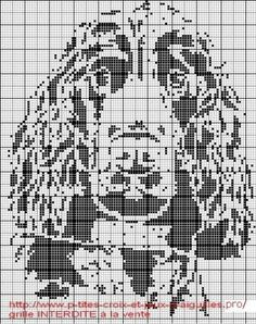 Spaniel Bird Dog Cross Stitch Black and White Pattern Cross Stitch Heart, Cross Stitch Borders, Cross Stitch Animals, Cross Stitching, Cross Stitch Embroidery, Embroidery Patterns, Funny Cross Stitch Patterns, Fillet Crochet, C2c