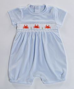 Take a look at this Blue Happy Crabs Hand-Smocked Romper - Infant & Toddler today!