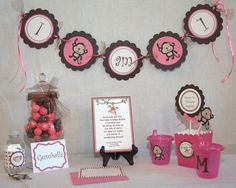 Pink & Brown Monkey Birthday Party