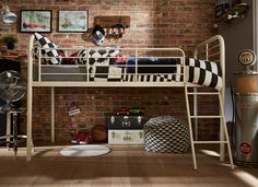 Contemporary and stylish the Piper Mid Sleeper is great for any kid's room. Made from metal with a smooth curved design, this bed is sleek yet subtle. Box Room Beds, Mid Sleeper Bed, Grey Room, Childrens Beds, Spare Room, Kid Beds, New Homes, Bedroom Ideas, Bed Ideas