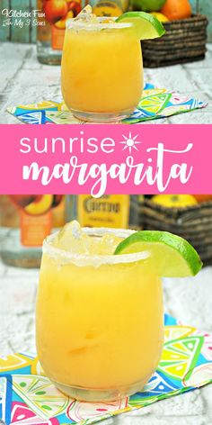 If you are a margarita fan, you will love this Sunrise Margarita. It is your usual on the rocks margarita but with fresh orange and pineapple juice. You are going to find yourself making this all summer long! Drinks With Pineapple Juice, Orange Juice Cocktails, Pineapple Orange Juice, Pineapple Cocktail, Orange Drinks, Summer Cocktails, Juice Drinks, Juice Smoothie, Lime Juice