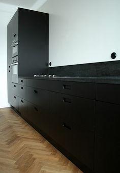 elegant all black kitchen