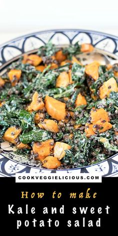 This kale and sweet potato salad is a wonderful vegan lunch or side dish that you'll want to make time and time again. Full of lentils for extra plant based protein. Topped with a delicious creamy tahini dressing for maximum flavour. #kalesalad #vegansalad #salad #sweetpotatosalad #veganlunch