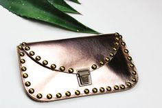 Rose Gold Leather Clutch with Rivets/ Metallic by NeroliHandbags