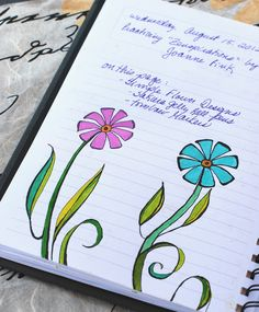 "https://flic.kr/p/cY3dvQ | Art Journal - Zenspirations 2 Simple Floral Designs | Practicing simple flower designs from ""Zenspirations, Letters & Patterning"" by Joanne Fink."