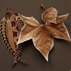 Beautiful crafts on autumn leaves