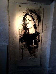 Ink on paper by artist Christoff Barnard hanging in Abalone Gallery, Hermanus, South Africa.