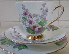 Old Royal Hollyhock cup, saucer and plate - vintage Old Royal Hollyhock trio - Old Royal china - elegant bone china trio