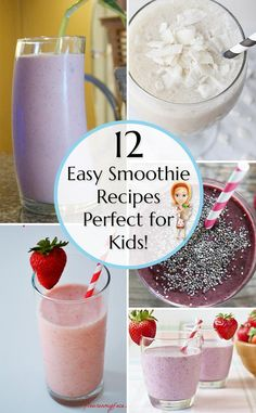 Don't miss these 12 easy smoothie recipes that make great breakfast ideas for kids - pin it for later! smoothies for kids Smoothie Recipes For Kids, Breakfast Smoothie Recipes, Smoothies For Kids, Apple Smoothies, Easy Smoothies, Smoothie Drinks, Baby Food Recipes, Nutritious Breakfast, Kid Recipes