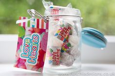 Love heart sweets in glass Kilner jar. Part of the Fuschia Pic N Mix Candy Bar.  Perfect for weddings, mehndi, celebrations. Www.fuschiadesigns.co.uk
