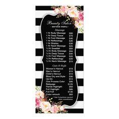 Floral Black And White Striped Salon Service Menu