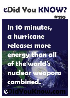In 10 minutes, a hurricane releases more energy that all of the world's nuclear weapons combined. Odd Facts, Wtf Fun Facts, Random Facts, True Facts, Fascinating Facts, Amazing Facts, Interesting Facts, Did You Know Facts, Things To Know