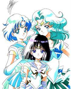 Sailor Mercury, Sailor Saturn & Sailor Neptune by marco albiero Sailor Moons, Sailor Moon Girls, Sailor Neptune, Sailor Uranus, Sailor Moon Art, Sailor Moon Cosplay, Anime Manga, Anime Art, Sailor Moon Kristall