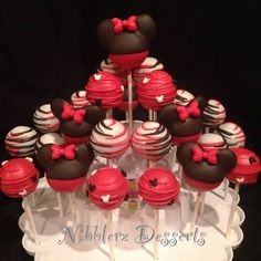 24 Minnie Mouse inspired cake pop Assortment Red Minnie or
