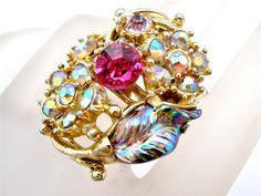 Vintage Hollycraft Pink Rhinestone Ring Aurora Borealis Gold Signed 1959 Corp