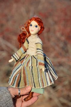 Red hair mori girl art doll, paper clay artist doll in medieval style for doll collectors, fall colo