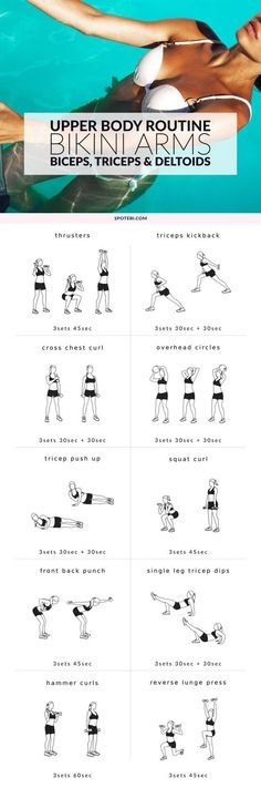 Sculpt sleek, toned arms and shoulders with this upper body workout for women. A ten-move circuit to contour your biceps, triceps, and deltoids for a sexy bikini-ready look. http://www.spotebi.com/workout-routines/bikini-body-upper-body-workout-for-women/