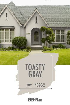Give your home an instant style refresh with BEHR® Paint in Toasty Gray. Featured here on this traditional home exterior, Toasty Gray is a neutral shade with warm undertones—making it perfect for a variety of interior design styles. Click below for full color details to learn more.
