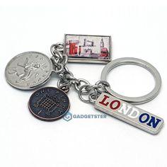 2 X Keyring Crystal UK London Landmarks Souvenir Funky British Pound Pence Coins