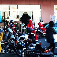 Motorcycle-riding Santas were everywhere around Christmas!