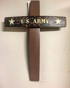 Hand engraved U.S. Army wine barrel stave cross. Made by Country Cowgirl's Creations