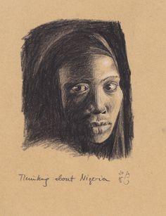 "Thinking about Nigeria. 18 x 24 cm/ 7"" x 9.4""."