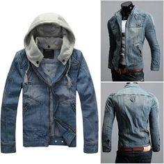 Vintage Mens CLASSIC VINTAGE Denim Hooded Jean Jacket Detachable Cap Hoody Coat