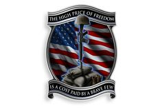The High Price Of Freedom Is A Cost Paid For By A Brave Few. Solider Cross Reflective Decal from Mustang Loot