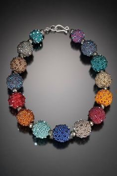Large Beaded Bead Necklace - Crocheted Beaded Beads with Swarovski Crystals by Lynne Sausele