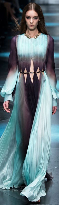 Roberto Cavalli.Fall 2015.  (ombre gown pleated flowy chiffon semi transparent sea green blue fade gradient midnight)