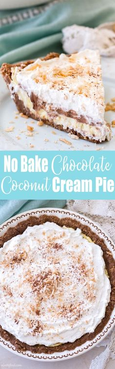 This easy, no-bake chocolate coconut cream pie recipe is the perfect summer dessert! Whipped cream, chocolate cream, and coconut cream are layered on top of a Keebler cookie crust! It's glorious. (Easy Baking Recipes No Eggs) Best Dessert Recipes, No Bake Desserts, Sweet Recipes, Delicious Desserts, Coconut Desserts, Pudding Desserts, Baking Desserts, Chocolate Desserts, Chocolate Cream