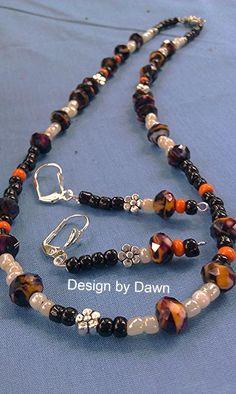 Black orange white silver glass crystal stone by DoubleDzBeadz