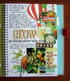 Smash book page from Tessa Buys at Precocious Paper Smash Book Love, Smash Book Pages, Art Journal Pages, Art Journals, Junk Journal, Garden Journal, Journal Cards, Bullet Journal, Education Journals