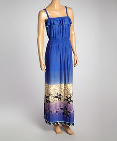 Look at this #zulilyfind! Royal Blue Ruffle Maxi Dress - Women #zulilyfinds