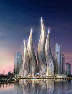 The Dubai Towers (at night) - United Arab Emirates.