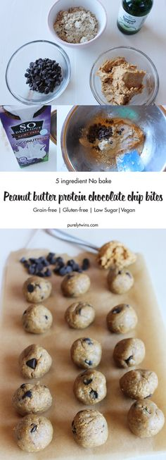 No Bake Peanut Butter Chocolate Chip Protein Bites: delicious, easy to make, energy-boosting and super-filling. Made of just 5 simple ingredients, vegan, gluten free and low in sugar. Taste like a peanut butter cup cookie dough.
