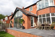 This tasteful two storey and single storey rear extension was undertaken in Davenport, Cheshire. The requirement was to keep the look of the period property at the front of the house but to go for a more modern look to the rear of the house. Conservatory Extension, Roof Extension, Extension Ideas, Single Storey Extension, House Extensions, Garden Gates, House Front, Brick, Home Improvement