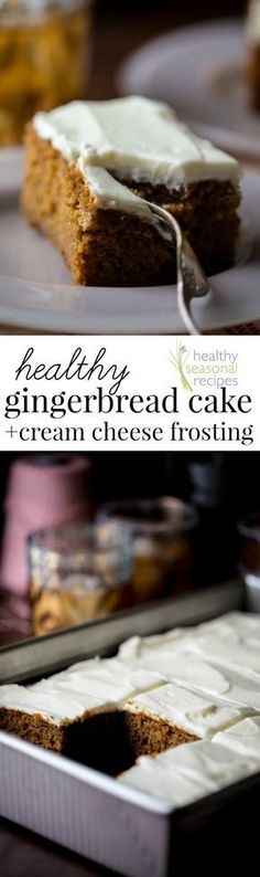 Healthier Gingerbread Sheet Cake with Cream Cheese Frosting: Super rich and moist with tangy cream cheese frosting. Serves 18- perfect for a Christmas party