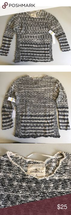 """O'Neill Women's 'Boston' Knit Sweater Manufacturer color is Black. Pullover knit sweater. Long sleeves. Chest across is approx 20"""". Crewneck. 100% Cotton. Marled. Bin 24 O'Neill Sweaters Crew & Scoop Necks"""