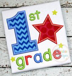 1st Grade Star Applique $ REPIN THIS then click here: https://creativeappliques.com/