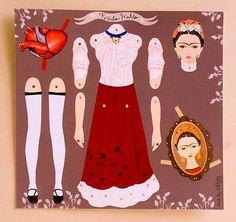 Frida Kahlo articulada muñeca de papel por INKNJOY en Etsy