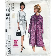 Love the coat!!! McCalls 60s dress and coat sewing pattern 7493, Bust 40 inches, vintage patterns