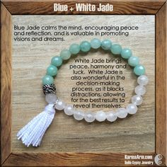 AFFIRMATION: Today will be peaceful. - 8mm Faceted White Jade Natural Gemstones - 8mm Faceted Blue Jade Natural Gemstones - Tibetan Silver Leaf Rondelle - White Cotton Tassel - Commercial Strength, La